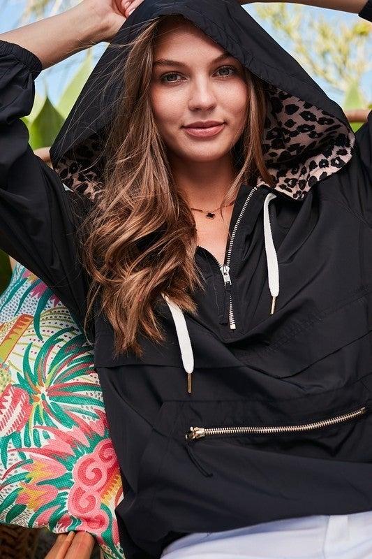 Leopard Raincoat with Pocket