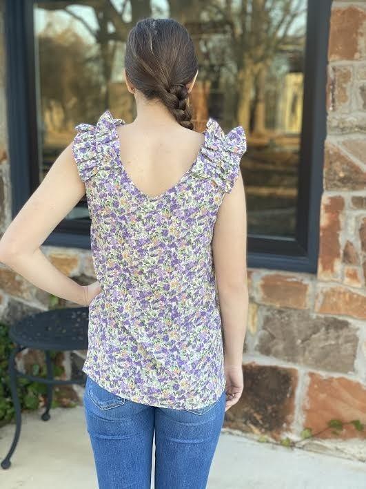 Purple Ruffled Sleeve Top