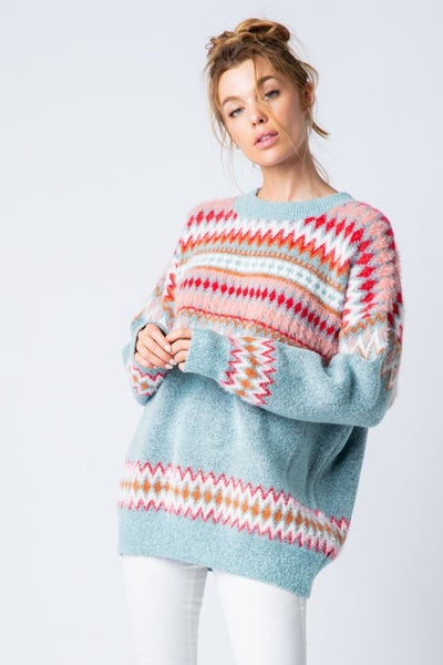 Blue Round Neck Sweater