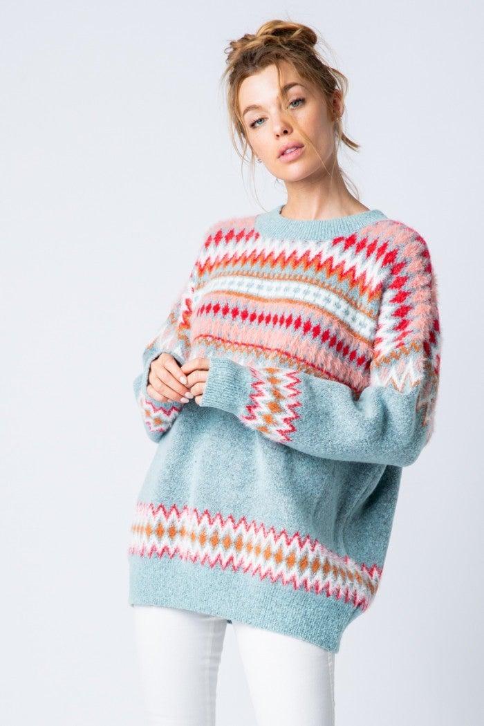 Blue Round Neck Sweater