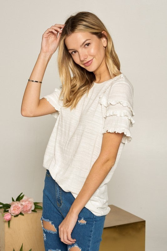 White Frilled Sleeve Detail Tee