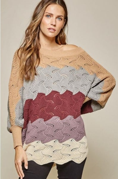 Beige Multi Striped Sweater