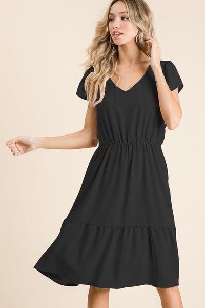Black V-Neck Drop Waist Dress