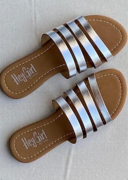 Silver Corky's Sandals