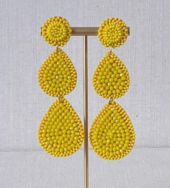 Yellow Beaded Chandelier Earrings