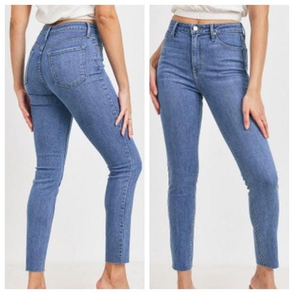 High Rise Scissor Cut Skinny Jeans