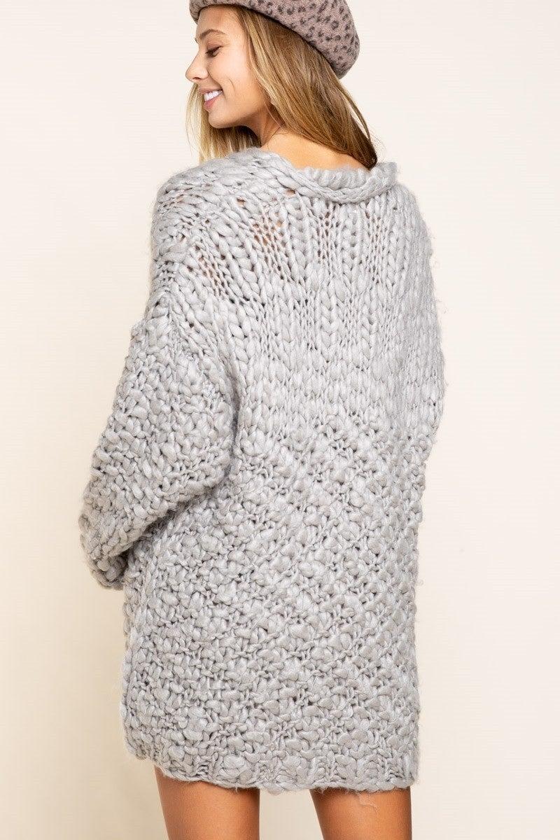 Grey Crochet Cardi