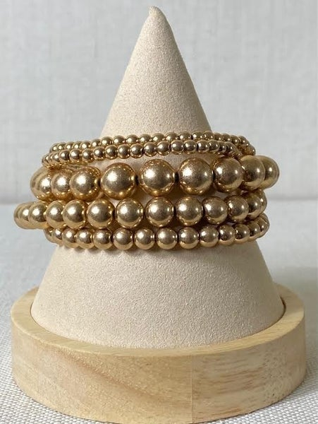 Gold Beaded Bracelet Stack