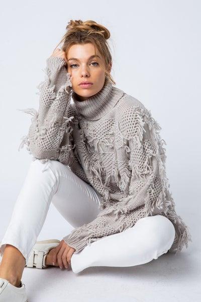 Silver Grey Fringe Turtleneck Sweater