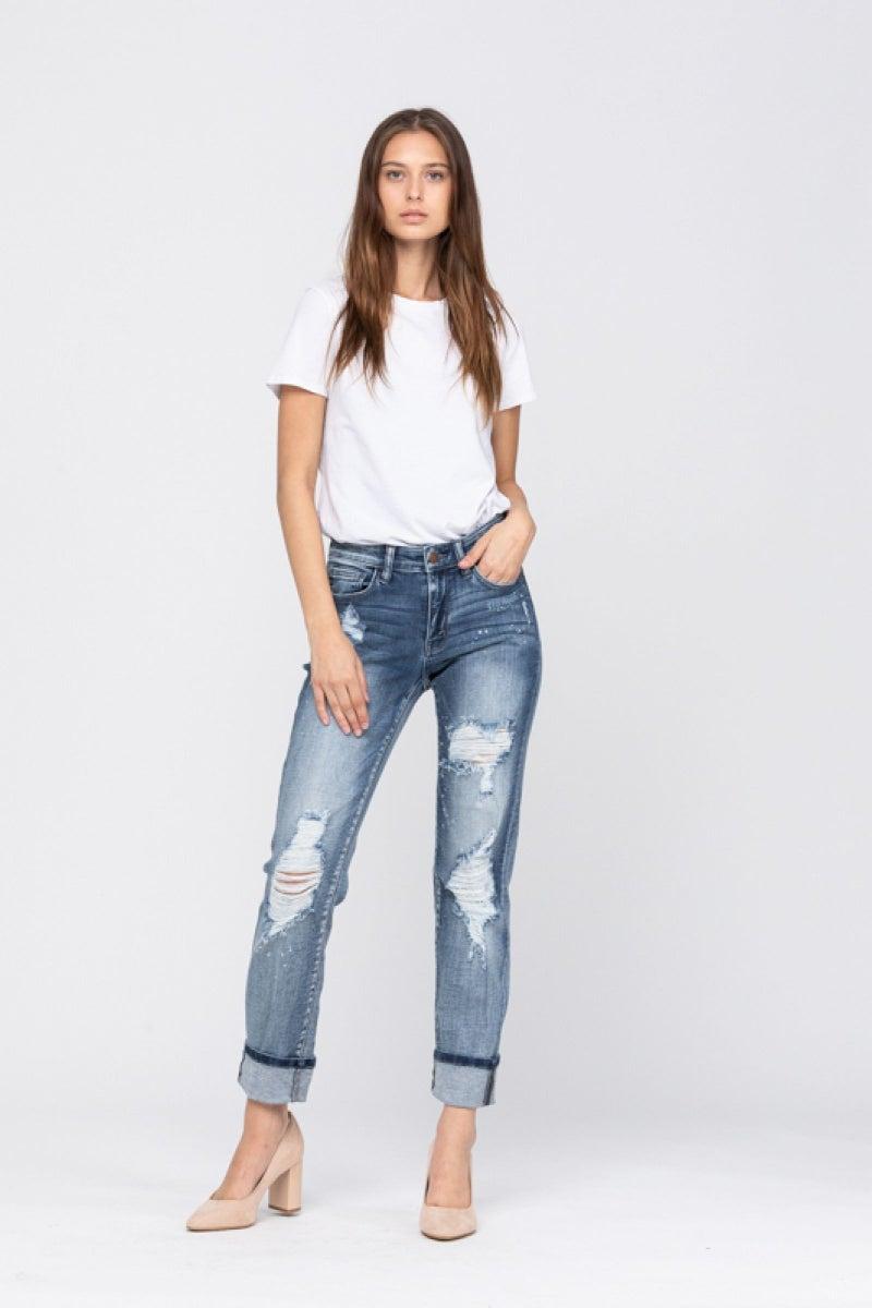 Destroyed Bleach Splatter Boyfriend Jeans