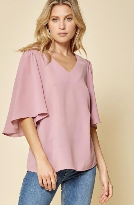 Mauve V Neck Top with Flared Sleeves