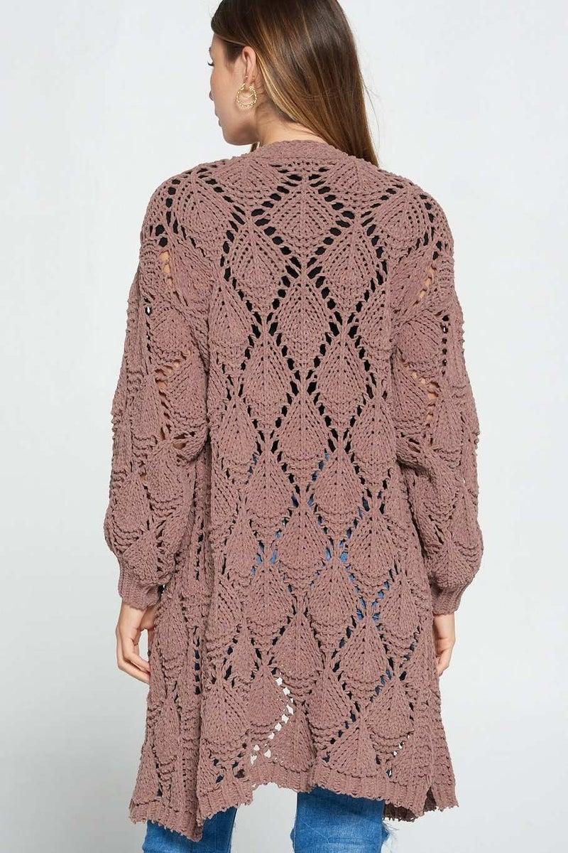Mocha Crochet Cardigan