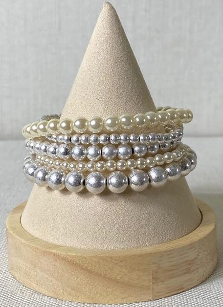 Silver and Pearl Bracelet Stack