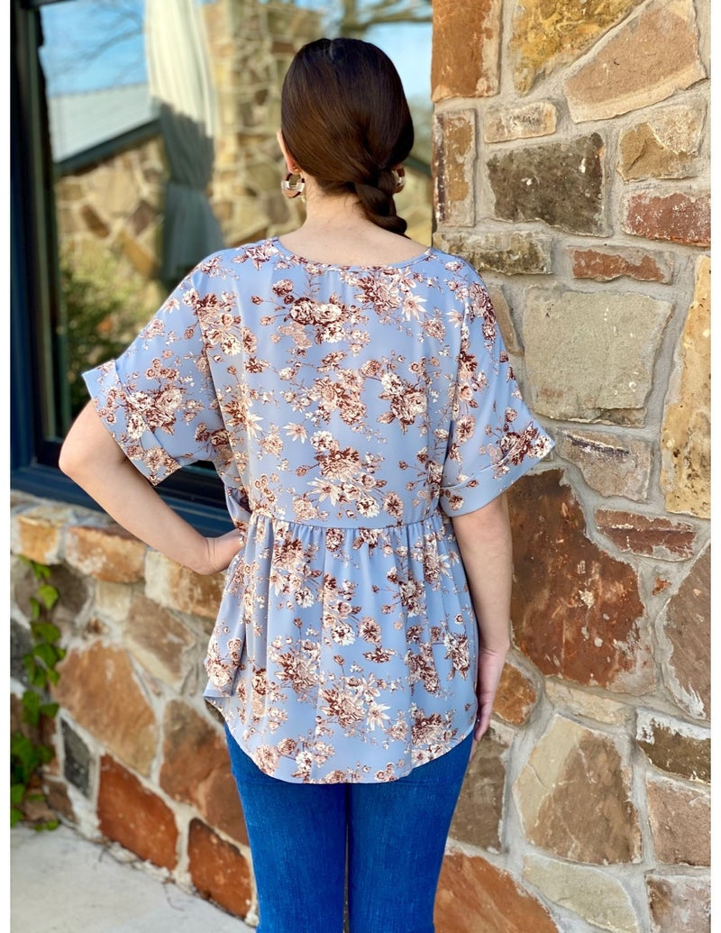 Blue Floral Babydoll Top