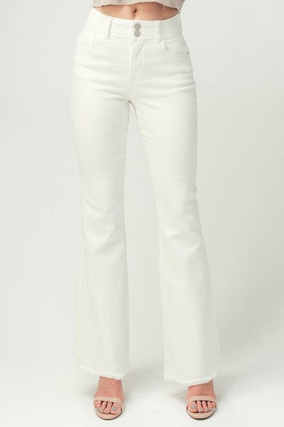 White Double Button Flare Jeans