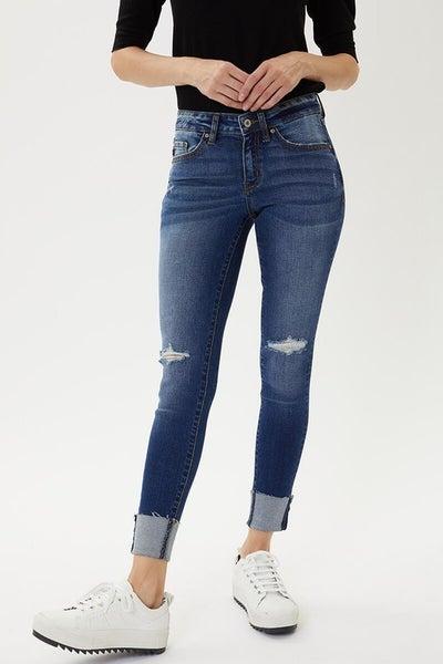 Low Rise Hem Detail Skinny Jeans