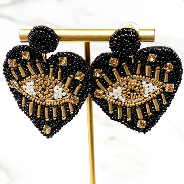 Evil Eye - Seed Bead Earrings