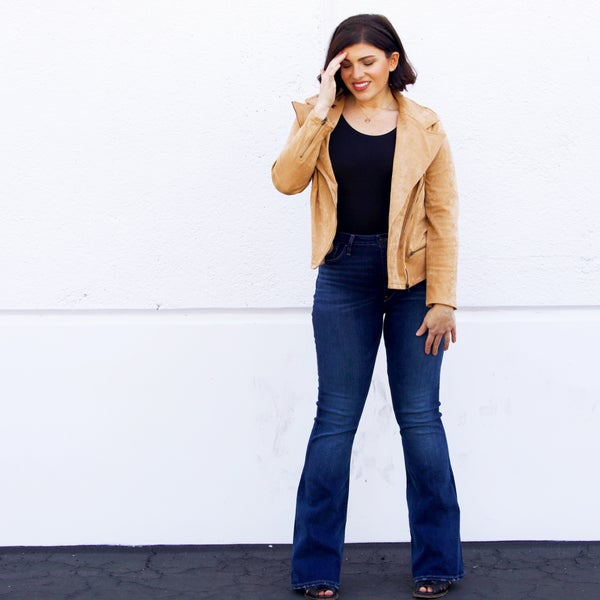 The Stevie - Wide Collar Faux Suede Jacket