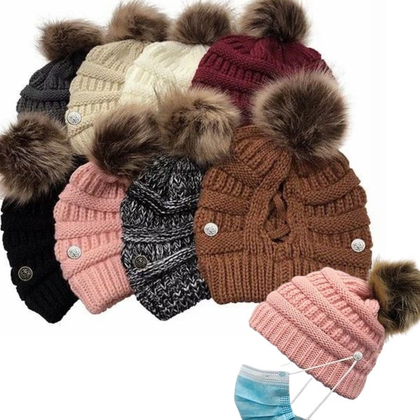 Chunky Pom Beanie with Face Protector Buttons & Criss Cross Back