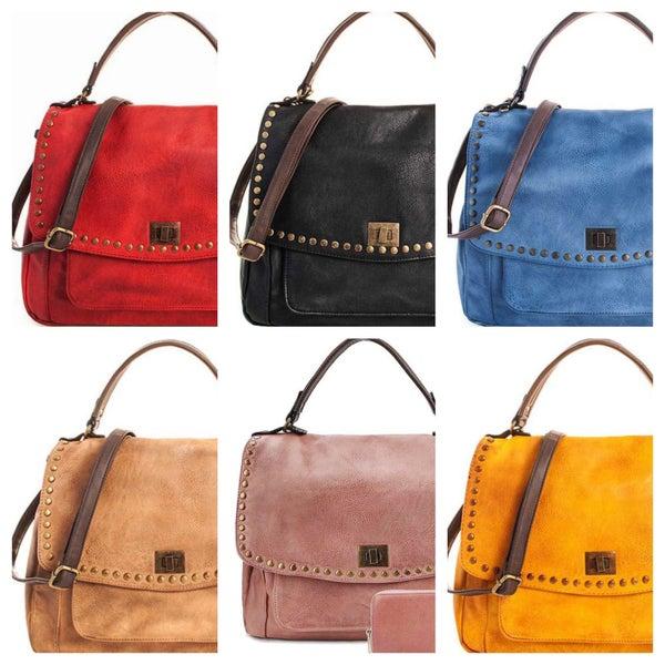 2in1 Faux-Leather Modern Satchel w/Strap & Wallet