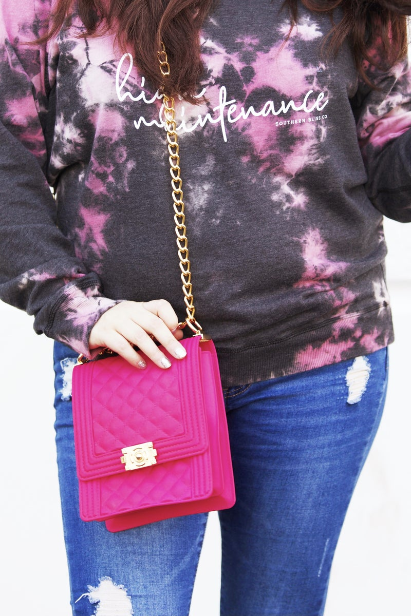 Hot Pink Quilted Jelly Handbag