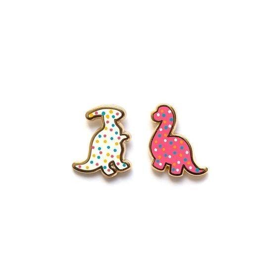 Dino Animal Cookie - 22k Gold Plated Stud Earrings