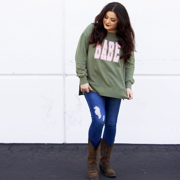 BABE - Pink and Olive Sweatshirt