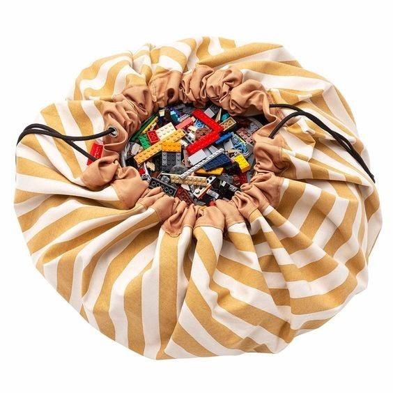 Mustard Stripes - Play&Go Toy Storage Bag