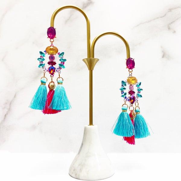 Hot Pink & Aqua Chandelier Tassel - Earrings