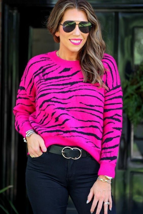 The Zoe - Hot Pink Tiger Sweater