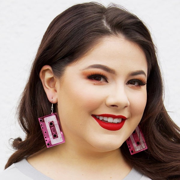 Mixed Tape Earrings - HOT PINK