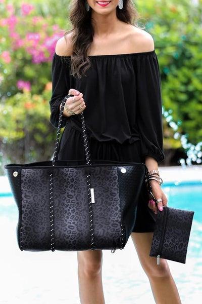 Black Leopard - Neoprene Tote Bag & Clutch Set