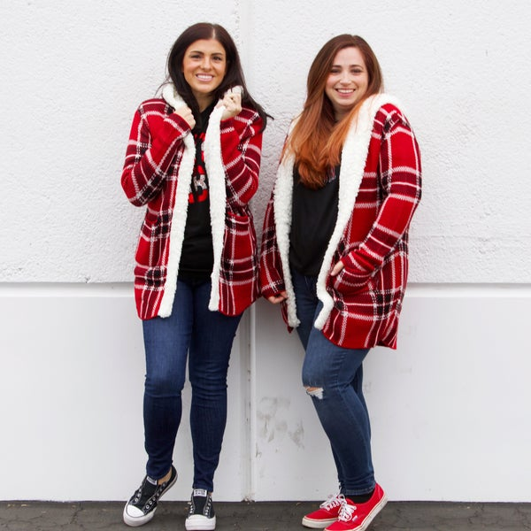 Plaid Faux Fur-Lined Hooded Swing Coat