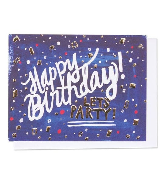 Happy Birthday Single Silver Foil + Embossed Card
