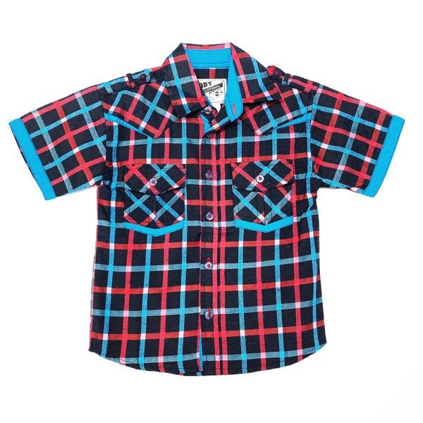 Little Man Plaid Collared Shirt