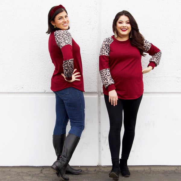 The Queensbury - Burgundy & Leopard Sweater Top - Reg/Plus