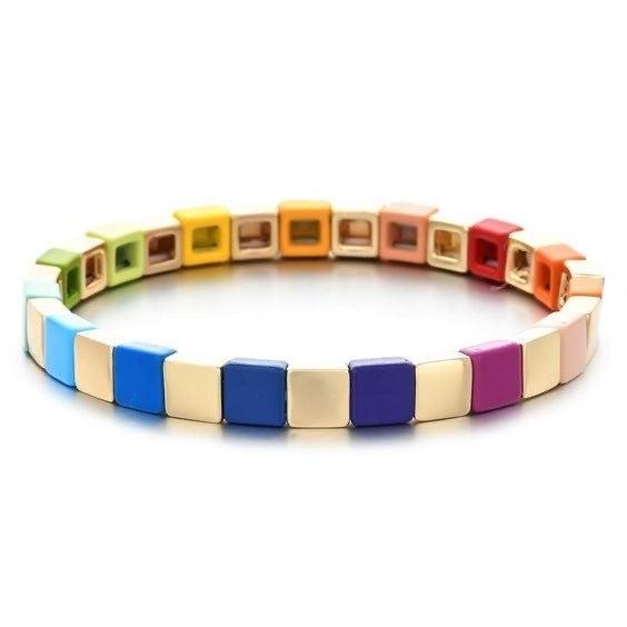 Rainbow Enamel Tile Stretch Bracelet