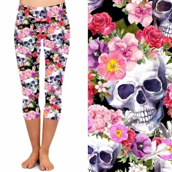 Flower Crown Skull - Capri Leggings - Reg/Plus