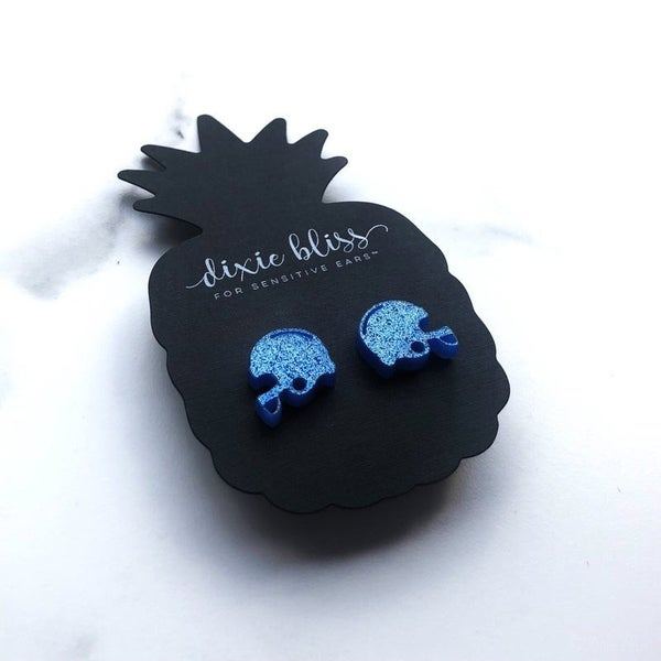 Blue Football Helmets - Stud Earrings
