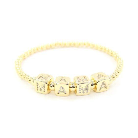 18k Mama Pavé Bracelet - Available in Standard & Extended Wrist Sizes!
