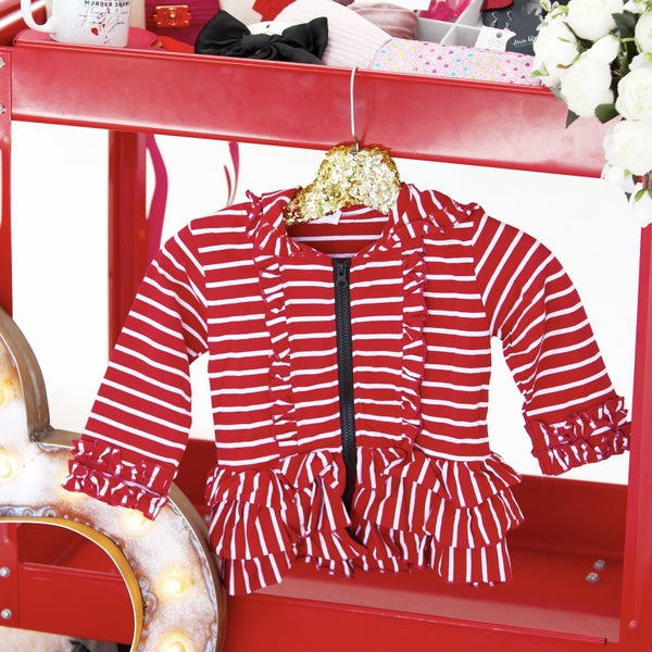 Kids - Deep Red Stripes - Tiered Ruffle Hoodie Sweatshirt