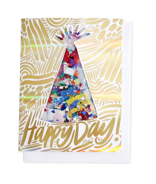 Party Hat & Happy Day - Confetti Card