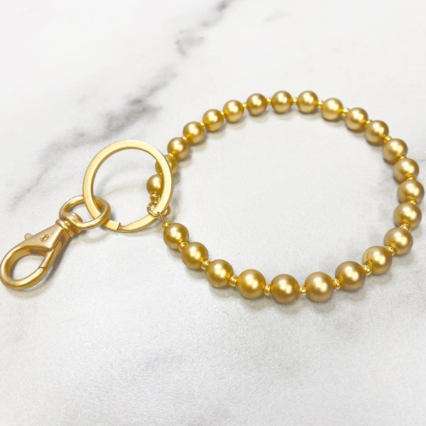 Chic Bright Gold Bead Bracelet Keyring