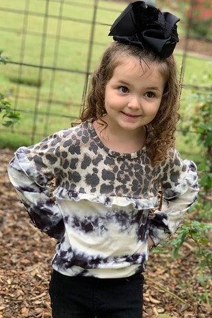 Kids Leopard & Tie-Dye Ruffle Long-Sleeve Top