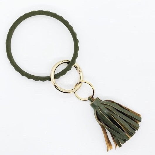 Olive Green - Studded Silicone Bracelet Keychain with Tassel