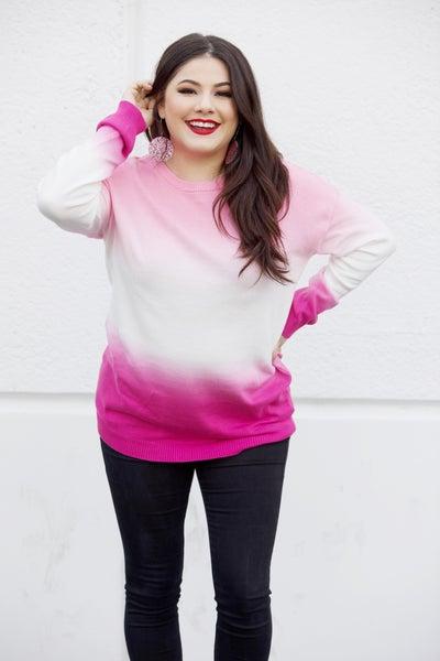 Dipped Ombré - Hot Pink Crewneck Sweater