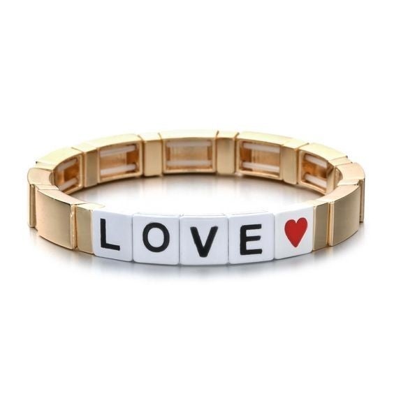 Love Enamel Tile Stretch Bracelet