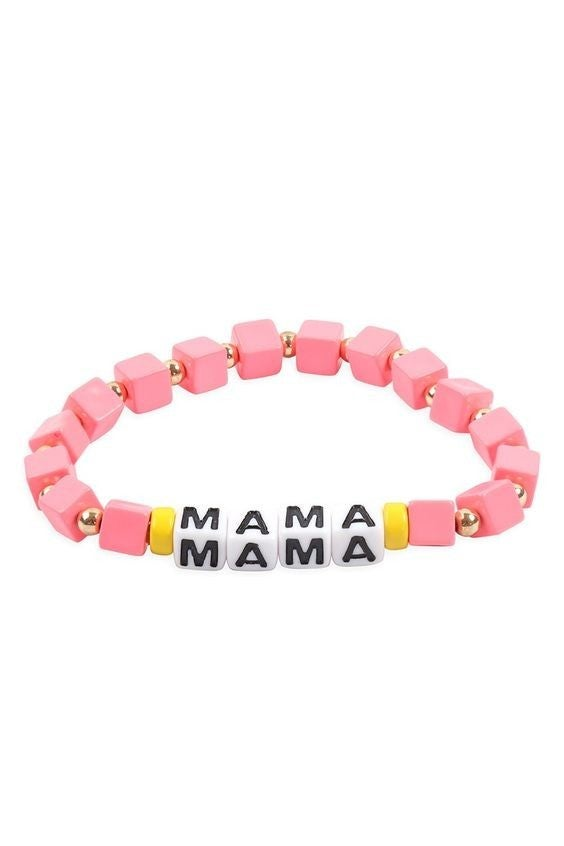 Mama - Pink Letter Cube Stretch Bracelet