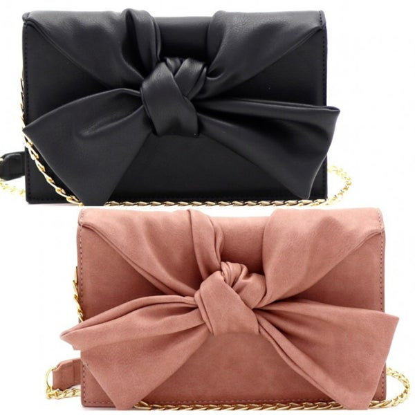 3-Compartment Knotted Bow Accent Clutch Shoulder Bag