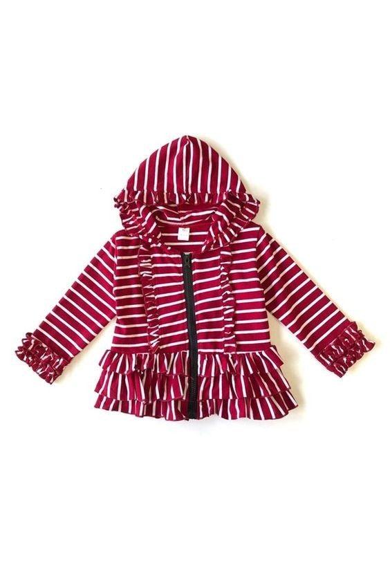 Kids - Deep Red Stripes - Tiered Ruffle Hoodie Sweatshirt
